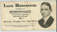 Louis Rubenstein 1920 Election Advertising Card as Candidate for Republican Representative to Ohio General Assembly