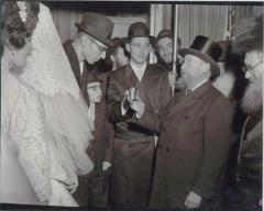 Rabbi Eliezer Silver Reciting a Brocha (Blessing) Under the Chuppah at an Unidentified Wedding