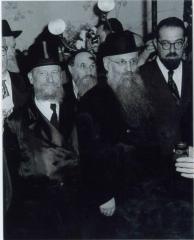 Rabbi Elizer Silver Smiling Underneath the Chuppah at an Unidentified Wedding