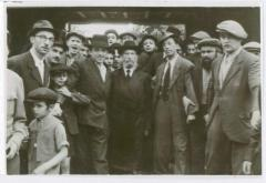 Picture of Rabbi Eliezer Silver Surrounded by Unidentified Group of Men