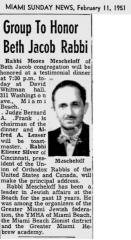 Article Regarding Rabbi Moses Mescheloff Being Honored With Rabbi Eliezer Silver Giving Keynote Address 1951
