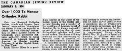 Article Regarding Rabbi Eleizer Silver's 75th Birthday Celebration Sponsored by Agudath Israel of America in 1956