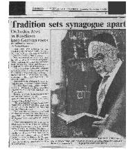 """Tradition Sets Synagogue Apart"" - New Hope Congregation Article from the Cincinnati Enquirer 1989"