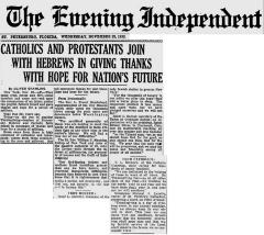 Article Regarding Thanksgiving Greetings in 1932 from Jewish, Catholic and Protestant Leaders
