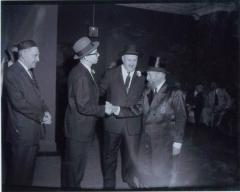 Rabbi Eliezer Silver Greeting an Unidentified Man