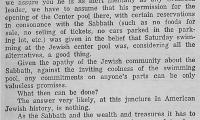 From The National Jewish POST and OPINION - POOLS OPEN ON SATURDAY