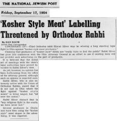 Articles Regarding Rabbi Eliezer Silver Fighting in Ohio in 1954 Against Kosher Style Meat & Others Looking to Follow His Lead