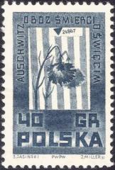 "Polish ""Auschwitz / Oswiecim"" Stamp from the World War II - Memorials of Martyrdom Series"