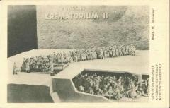 Auschwitz-Birkenau Postcard Showing a Model of one of the Crematorium