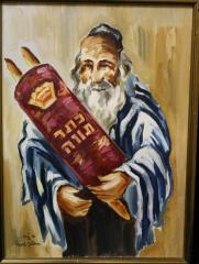 Painting of a Rabbi Holding a Torah Scroll by David Gelboa