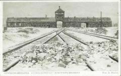 "Auschwitz-Birkenau Postcard Showing the Front Gates of Auschwitz Through Which Trains Entered the Camp (Referred to on the postcard as ""Gates of Death"")"
