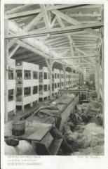 Auschwitz-Birkenau Postcard Showing the Interior of the Men's Barracks