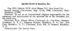 Agudath Israel of America Organizational Summary from the 1940 American Jewish Yearbook