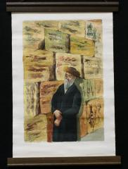 Painting of an Orthodox Man by the Wailing Wall
