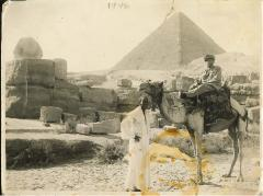 Picture of Rabbi Eliezer Silver Visiting the Pyramids in Egypt in 1946