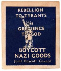 Joint Boycott Council - Boycot Nazi Goods WWII Stamp