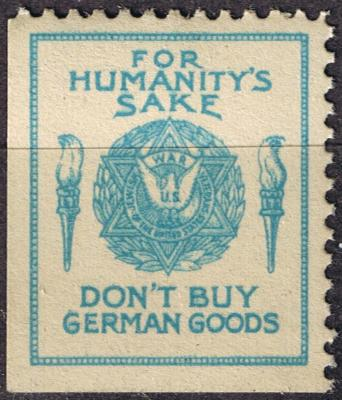 Jewish War Veterans Boycot German Goods WWII Stamp