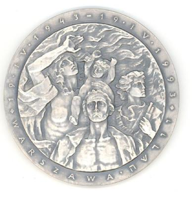 Medal Issued by the Union of Jewish Combatants to Commemorate the 50th Anniversary of the Warsaw Ghetto Uprising Front/Obverse