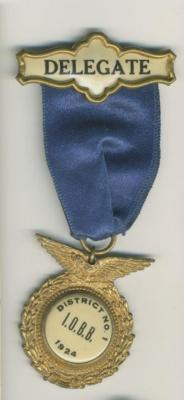 B'Nai B'rith 1924 District No 1 Delegate Medallion