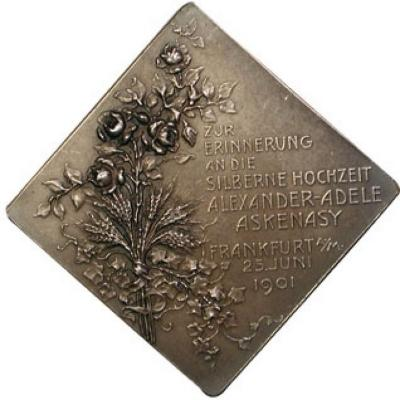 Silver (50th) Wedding Anniversary Medal of the Marriage of Alexander and Adele Askenasy Back/Reverse