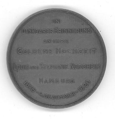 Golden Wedding Anniversary Medal of Louis & Stephanie Nordheim - Hamburg Back/Reverse