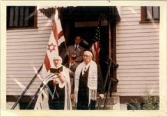 Photograph of the Members of Congregation B'Nai Avraham (Cincinnati, Ohio) Leaving Their Synagogue Building after their Merger with Northern Hills Congregation