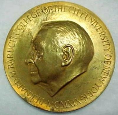 Bernard Baruch College Morton Wolman Award Medal Front/Obverse