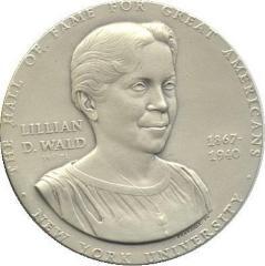 Large Lillian Wald NYU MACO Humanitarian Silver Medal