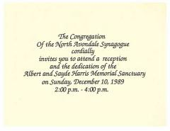 Invitation to Dedication of the North Avondale Synagogue Albert & Sadye Harris Memorial Sanctuary