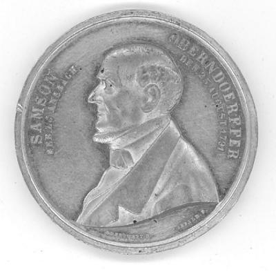 Samson Oberndoerffer (German Jewish Banker) 70th Birthday Medal Front/Obverse