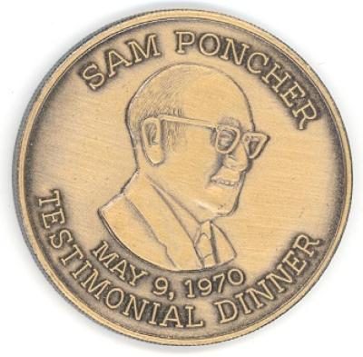 Sam Poncher 1970 Testimonial Dinner Medal Front/Obverse