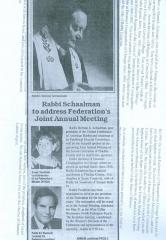 Rabbi Schaalman to address Federation's Joint Annual Meeting - newspaper clipping