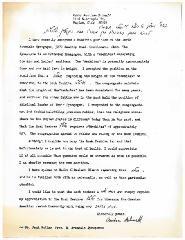 Letter to Rabbi Moshe Feinstein from Rabbi Abraham Schnall of the North Avondale Synagogue (Cincinnati, Ohio) regarding the height of the Mechitzah