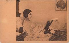"""E. M. Lilien Postcard """"Morgenzeitung"""" (""""Morning Newspaper"""")"""
