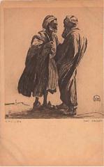 """E. M. Lilien Postcard """"Zwei Araber"""" (""""Two Arabs"""")"""