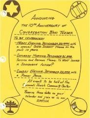 Documents and Pictures Relating to the 1974 10th Anniversary of Congregation B'Nai Tzedek (Cincinnati, Ohio)