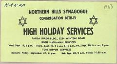 Northern Hills  Synagogue (Beth El) High Holiday Services Announcement Articles 1962 - 1968 (Cincinnati, OH)