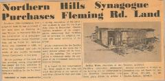 Northern Hills (Beth El) Purchases Land on Finney Town Rd. for Construction of New Synagogue
