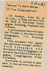 Articles Concerning the merging of Norwood Synagogue and the Beth El Congregation into Northern Hills Synagogue, Congregation B'nai Avraham 1967 (Cincinnati, OH)