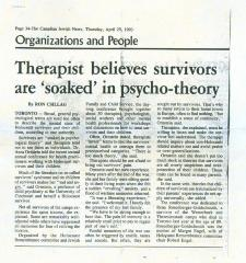 """Therapist believes survivors are 'soaked' in psycho-theory"" - article published in The Canadian Jewish News"