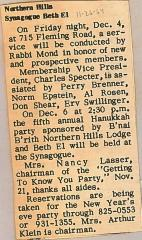 Newspaper Articles Concerning Services held at Northern Hills Synagogue (Cincinnati, OH)