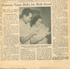 """Parents Name Baby for Beth Israel"" - article published in the Newark Evening News"
