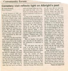"""Cemetery visits reflects light on Albright's past"" - article published in The American Israelite"