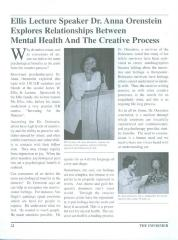 """Ellis Lecture Speaker Dr. Anna Ornstein..."" - article in The Informer newsletter"