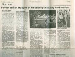 """Former Jewish Students at Heidelberg University hold reunion"" - article published in The American Israelite"