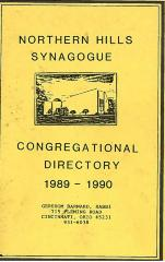 Northern Hills Synagogue Congregation Directory 1989 – 1990 (Cincinnati, OH)