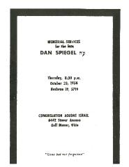 Golf Manor Synagogue / Agudath Israel - Dan Spiegel Memorial Service - 1958