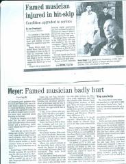 """Famed musician injured in hit-skip"" - newspaper clipping"