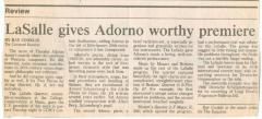 """LaSalle gives Adorno worthy premiere"" - newspaper clipping from the Cincinnati Enquirer"