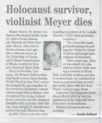 """""""Holocaust Survivor, violinist Meyer dies"""" - newspaper clipping"""